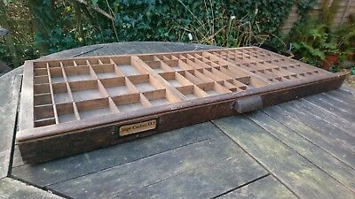 vintage wooden printers tray drawer for use as collectors display shelves