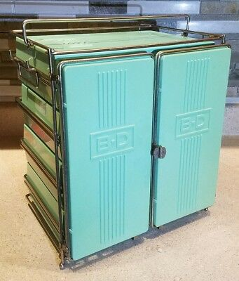 RARE!! Vintage B-D Industrial Syringe Cabinet, Becton Dickinson BD Medical Case