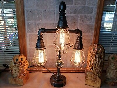 Handcrafted Industrial Antique style Pipe Desk, Table lamp -steampunk