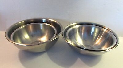 Vintage Vollroth Stainless Steel Bowl Set Of 2 Mixing Bowls + 2 Ss Korea Bowls
