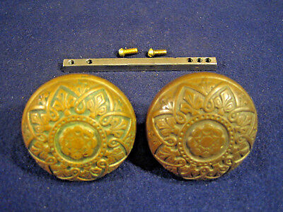 Pair Antique Decorative Bronze Aesthetic Eastlake Door Knobs Russell & Erwin R&E