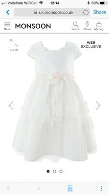 38f3246aa1e8 MONSOON GIRLS WHITE Ivory And Pink Peony Cascade Dress Age 8 Years ...