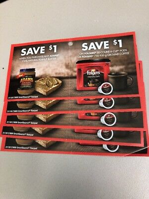 5 x Adams Peanut Butter and Folgers Coffee coupons (5 x $1 off each product)