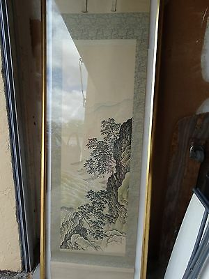 """antique Japanese hand painted scroll landscape 82""""x21"""" Qing signed seal UNFRAMED"""