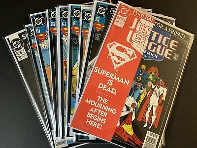 Superman *Funeral For A Friend* 10 Comic Lot DC 1993 COMPLETE STORY! NM