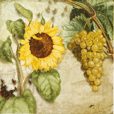 4x Paper Napkins for Decoupage Decopatch Vigneto  Grapes and sunflower