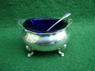 ENGLISH SILVER SALT CELLAR BLUE GLASS LINER HALLMARK BIRMINGHAM 1899 with SPOON