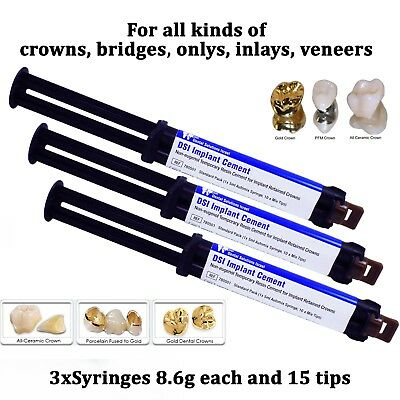 3 Dental Implant Cement Crown Bridge Veneers Onlays Inlays Automix Self Adhesive