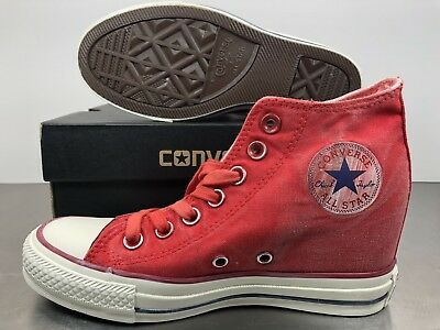 db2e221190e Womens Converse Chuck Taylor Platform Lux Wedge Shoes Size 6 Red White  547192C