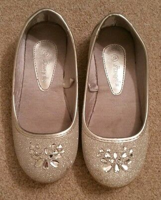 Monsoon angels lovely girls silver sparkling shoes UK Size12 excellent condition