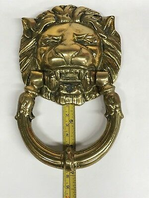 Vintage Brass Lion Head Door Knocker Architectural Salvage Old