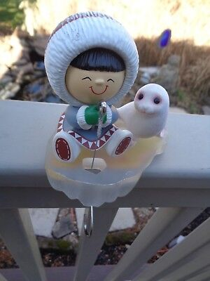 1987--Hallmark Vintage FROSTY FRIENDS Christmas Stocking Hanger w Insert & Box