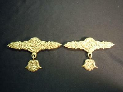 Jn] One Pair Of Vintage Brass Bell Pull Hardware