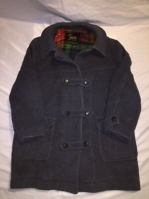 Vintage 60s 70s Sears Plaid Lined Driving Pea Coat Wool Jacket Retro Heavy Thick