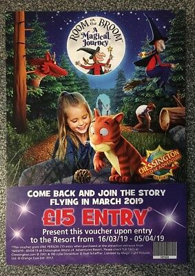 Chessington World Of Adventures Come Back Voucher £15 Entry 16/3/19 - 5/4/19