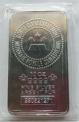 Royal Canadian Mint RCM 10 Troy oz .9999 Fine Silver Bar Sealed Ag Pure Serial #
