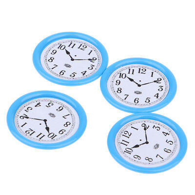 4pcs Dollhouse Miniature Wall Clock 33mm 1/12 Scale Play Doll House Toy Blue