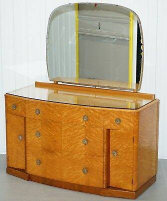 Lovely Birddseye Maple Dressing Table, Glass Top & Mirror By Tudor Rose Bros Ltd