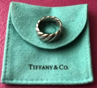 Auth Tiffany & Co. Sterling Silver Grooved Twisted Heavy Wide Band Ring Sz 5.75