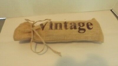 "Burlap Wine Bag ""vintage"" Single Bottle New Without Tags"