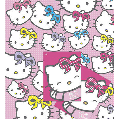 2 Sheets Hello Kitty Girls Birthday Wrapping Paper Gift Wrap For 1st 2nd 3rd