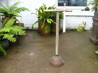Vintage Washing Dolly Copper Posser and Tongs