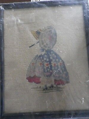 """Charming 9""""x11"""" nicely framed needlepoint/petipoint of young girl w/ parasole."""