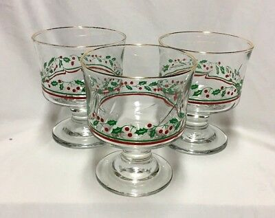 3 Vintage Arby's Stemmed Sherbet Holly Berries Swirl-Optic Glass Christmas 1980s