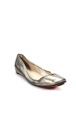 165e035aab44 Christian Louboutin Womens Ballet Flats Shoes Silver Leather Size EUR 42