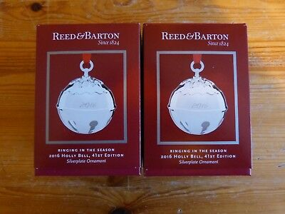 Reed & Barton 2016 Silver Plated Holly Bell Set of 2 Ornaments