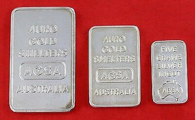 Set of 3 Rare Silver Bars Australian 5gm - 10gm - 20gm