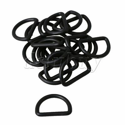 20 pieces Black Plastic D Ring Buckle for Webbing with 2.5cm Inner Dia