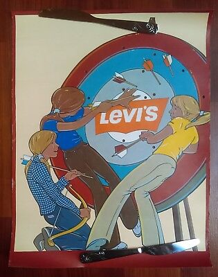 2 1977 Levi Strauss LEVIS Jeans Advertising Sports Posters Archery Soccer