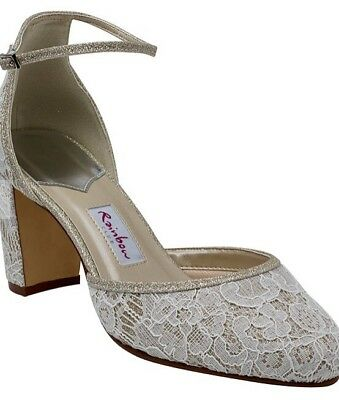 'Lavinia' Ivory Satin Silver Fine Shimmer Lace Wedding Shoes By Rainbowclub (4)