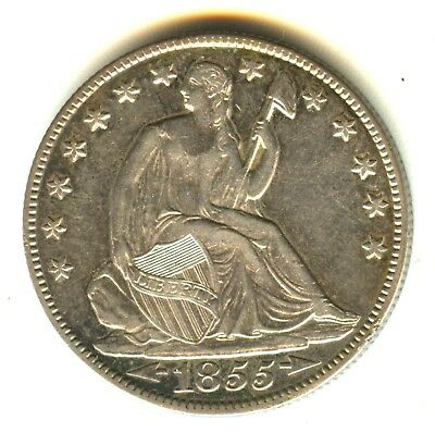 1855 O Seated Liberty Half Dollar AU With Arrows Excellent Strike Cameo Effect