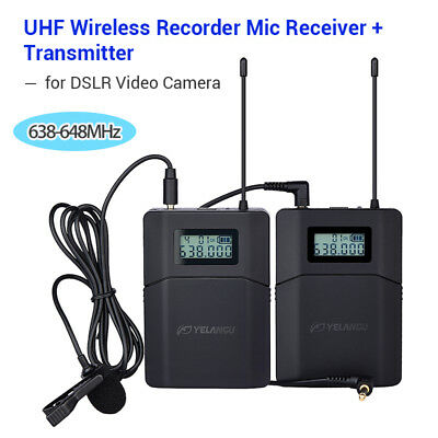 6 Channel UHF Wireless Microphone Lavalier Lapel Mic System for Camcorder Camera