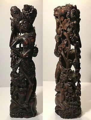 Mid-20th c. Ebony Exquisite Indonesian Wood Carving - FINE Details - WOMEN, DEER