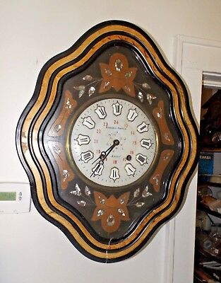 Incredible Antique 1800s French Inlaid Mother of Pearl Prayer Wall Clock Runs Gr