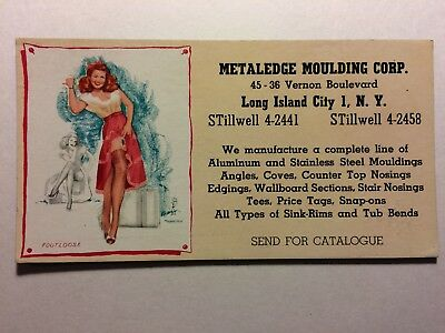 PIN-UP GIRL Blotter Artist THOMPSON Footloose Metaledge Moulding Long Island NY