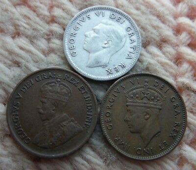 Canada Newfoundland Cent 1936, 1943, Silver 10 Cents 1952 Lot of 3
