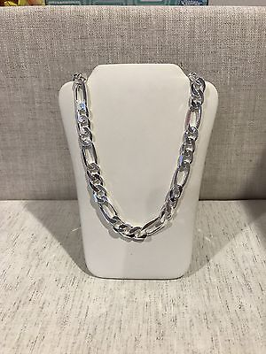 .925 Sterling Silver Men's Biker Thick Figaro Chain Necklace Heavy 28 inches