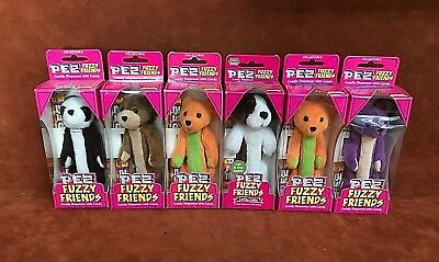 NEW IN PACKAGE (6) PEZ Fuzzy Friends Cuddly Dispensers w/ Candy ~ FREE SHIPPING