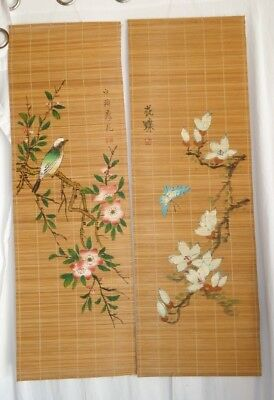 Lot of 2 Vintage Bamboo Floral Hand Painted Asian Long Scroll Wall Hanging