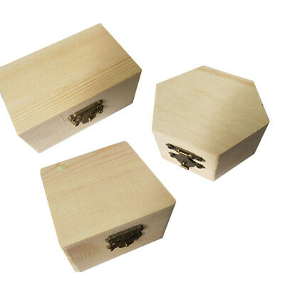 Unpainted Plain Natural Wood Jewellery Box Earring Accs Organizer DIY Crafts Hot