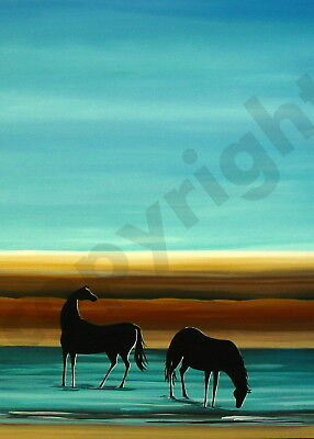 Horses silhouette blue Giclee modern water art Criswell ACEO print of painting