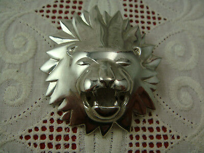 Vintage Silver Tone High Relief Roaring Stylized Shiny Lion Pin Brooch