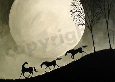 Horses game silhouette moon Giclee  modern art Criswell ACEO print of painting