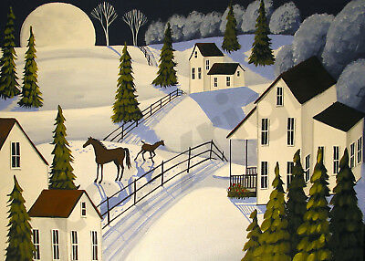 Winter landscape horse foal baby rose Giclee art Criswell ACEO print of painting