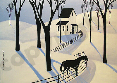 Winter snow woods trees horse shadows Giclee art Criswell ACEO print of painting