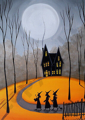 Witch Halloween black cat cabin woods Giclee art Criswell ACEO print of painting